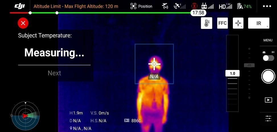 pomiar temperatury ciała -mavic 2 enterprise Dual