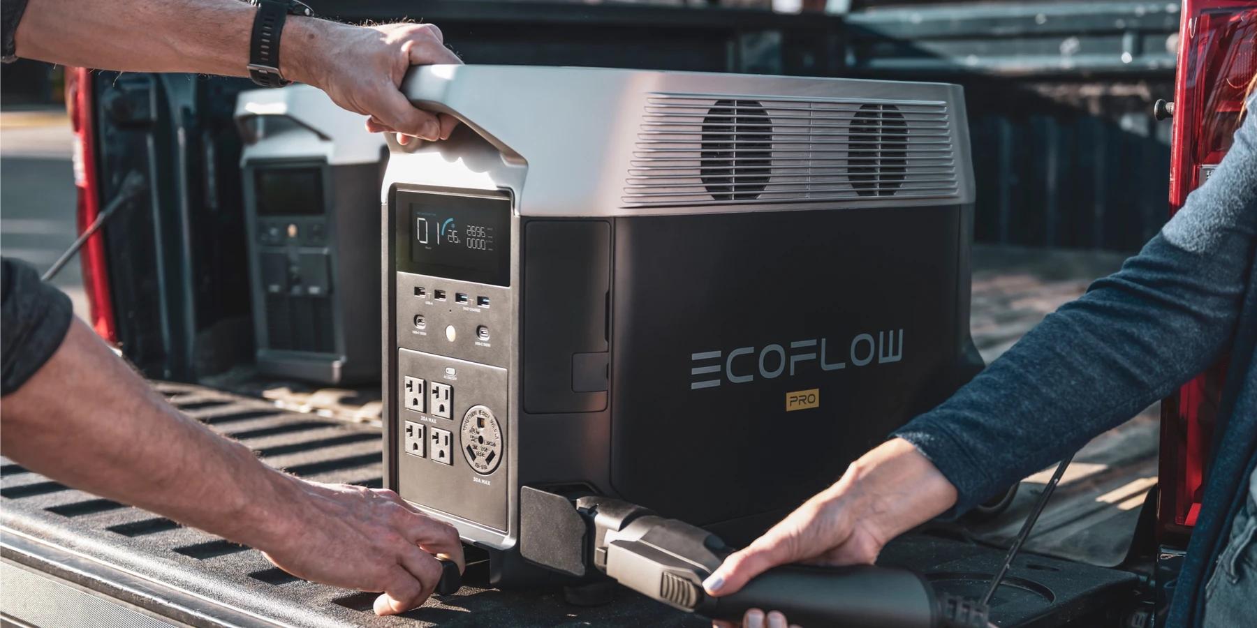 ładowanie ecoflow delta pro na stacji ładowania pojazdów elektrycznych EV