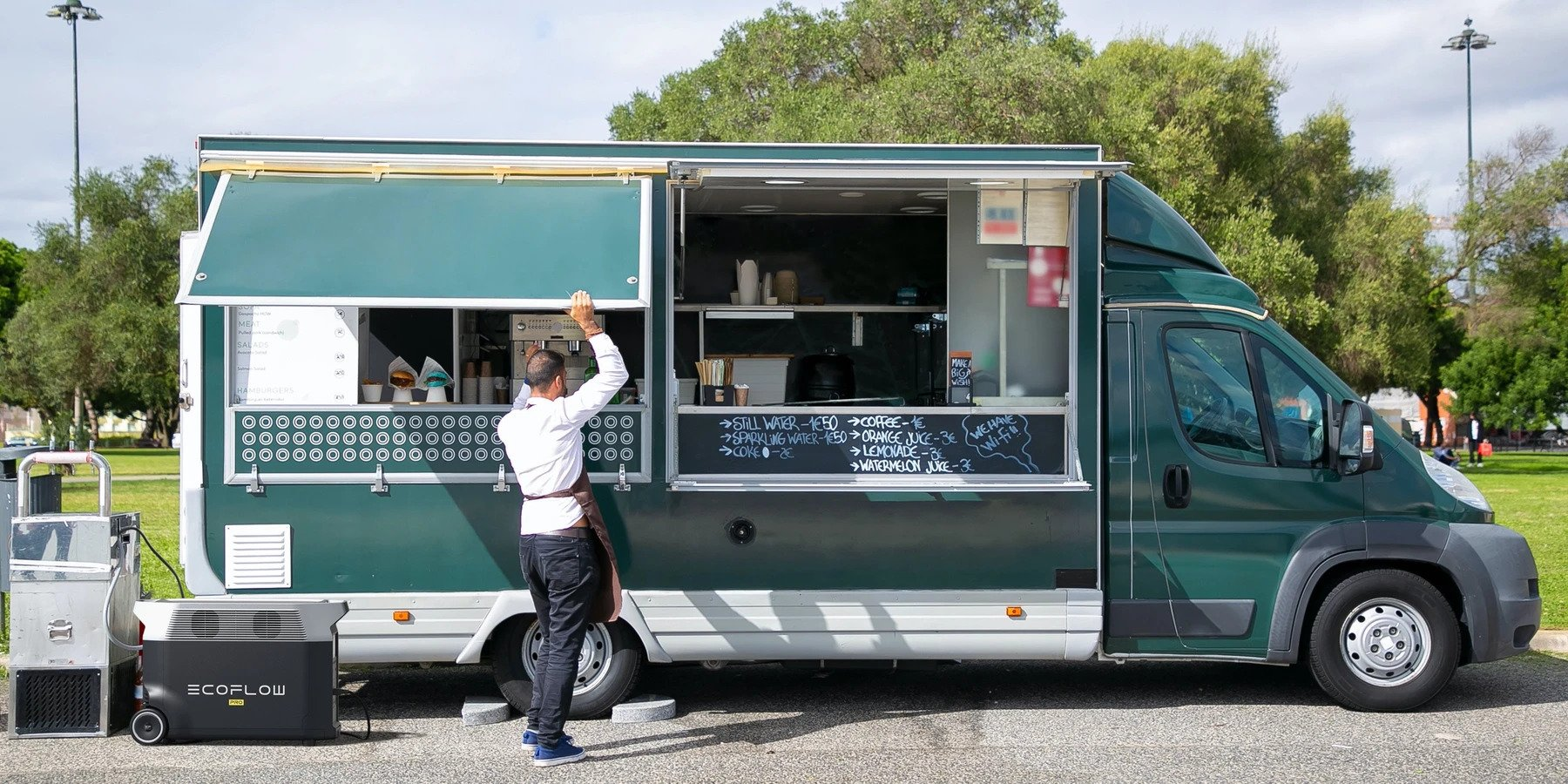 przenośne zasilanie food trucka w parku ecoflow delta pro
