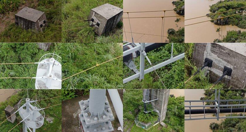punkty inspekcyjne wiszącego mostu rurociągowego