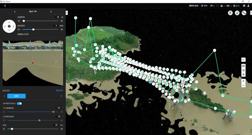 punkty orientacyjne dji terra wybrane dla  wiszącego mostu rurociągowego
